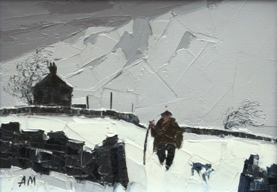 British Artist Austin MOSELEY - Snow in the Dales