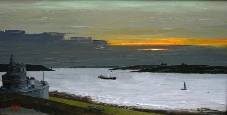British Artist Austin MOSELEY - Pendennis From St Mawes, Cornwall