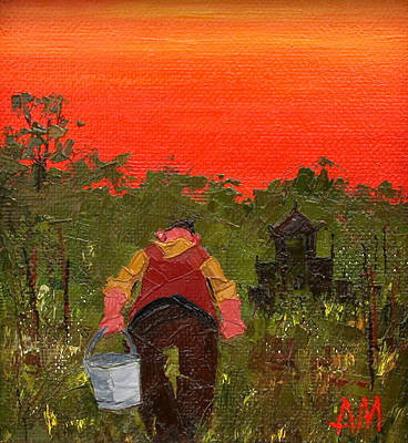 British Artist Austin MOSELEY - Allotment Sunset