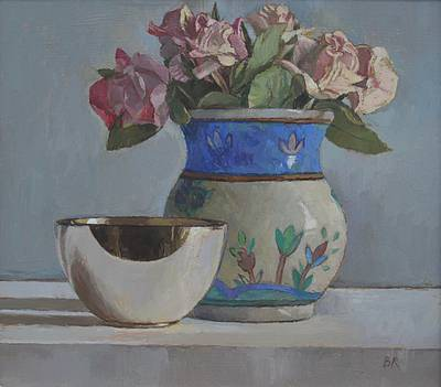 Barbara RICHARDSON  RBA - Roses with a Silver Bowl