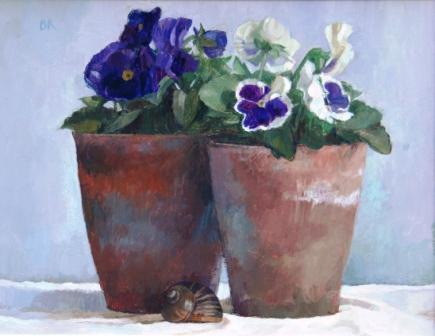 Barbara RICHARDSON  RBA - Pansies and a Snail's Shell