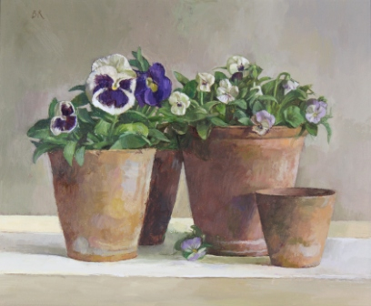 British Artist Barbara RICHARDSON  RBA - Pansies and Viola