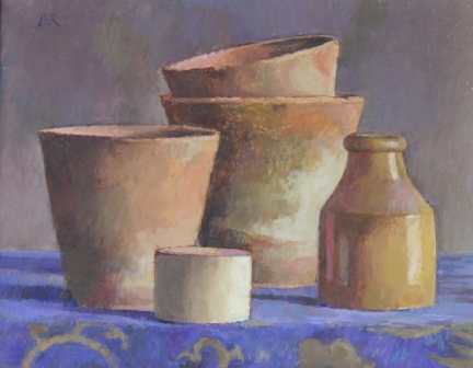 British Artist Barbara RICHARDSON  RBA - Pots on a Blue Patterned Cloth
