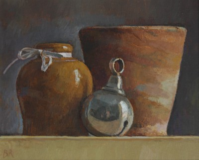 British Artist Barbara RICHARDSON  RBA - Still Life with Silver Rattle