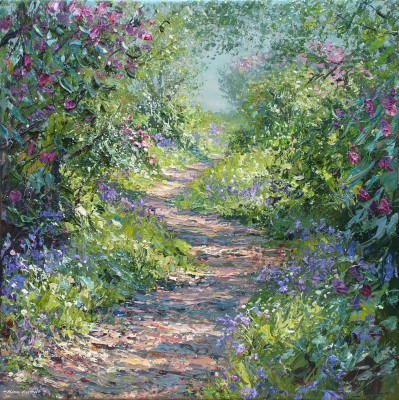 Mark PRESTON, contemporary artist - Bluebells and Rhododendrons, Bramley Wood