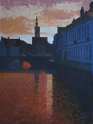 British Artist Peter KELLY - Red Sky at Night, Bruges