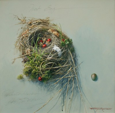 British Artist Bryan HANLON - Nest Egg Winter Black Bird