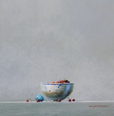 British Artist Bryan HANLON - Glazed Bowl, Berries and Thrush Egg