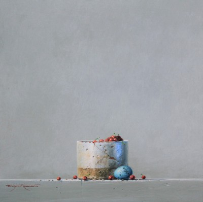 British Artist Bryan HANLON - Glazed Pot, Berries and Thrush Egg