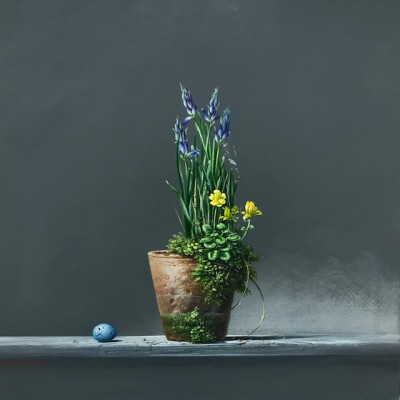 British Artist Bryan HANLON - Bluebells and Thrushes Egg