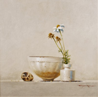British Artist Bryan HANLON - Daisies and Quail Egg