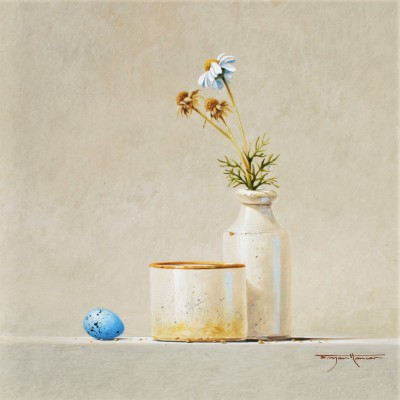British Artist Bryan HANLON - Daisies and Song Thrush Egg