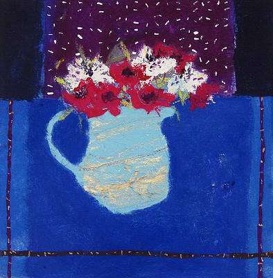 British Artist Caroline BAILEY - Carnations in a Blue Jug