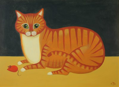 Curious Cat painting by artist Catriona HALL