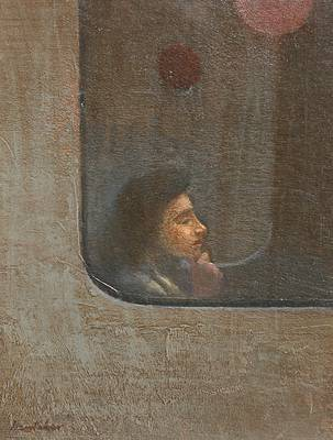 British Artist Charles HARDAKER - The Tube - Pondering