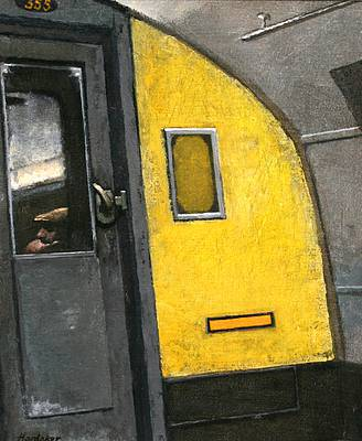 British Artist Charles HARDAKER - The Tube - Corner of the Carriage