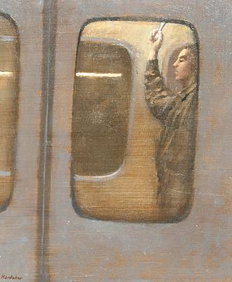 British Artist Charles HARDAKER - The Tube - Night Traveller