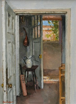 British Artist Charles HARDAKER - Open Doors with Cricket Bat
