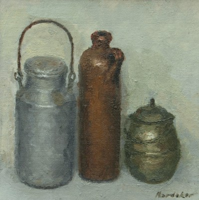 British Artist Charles HARDAKER - Still Life: Grey, Brown, Olive