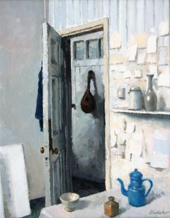 British Artist Charles HARDAKER - Open Door - The Blue Coffee Pot