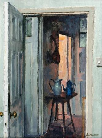 British Artist Charles HARDAKER - Open Door Interior - Evening
