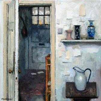 British Artist Charles HARDAKER - Interior with two Letters