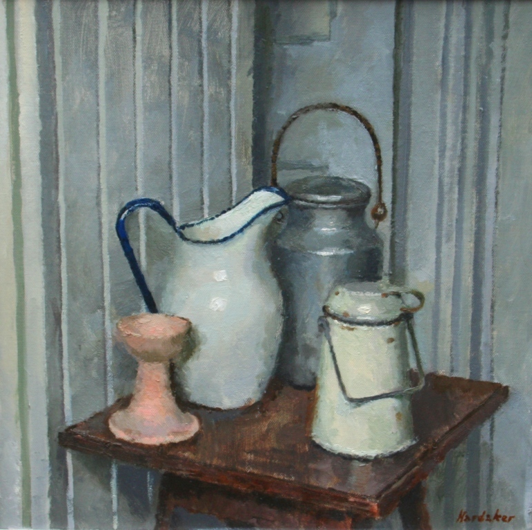 Charles HARDAKER - Still Life Four Objects -Grey Pink