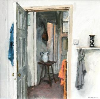 British Artist Charles HARDAKER - Interior, Blue, Orange and Grey