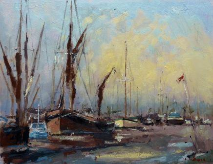 British Artist Chris DAYNES - Clearing Mist, Faversham