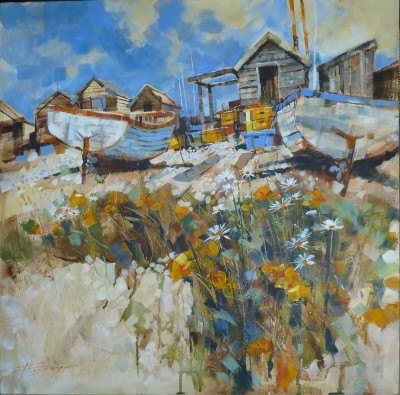 British Artist Chris FORSEY - Daisies among Pebbles