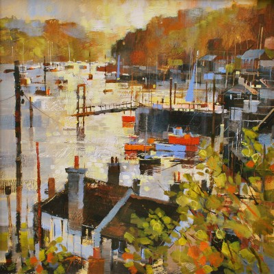 British Artist Chris FORSEY - Into the Sun, Polruan