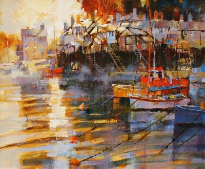 British Artist Chris FORSEY - Moored in the Mist, Fowey