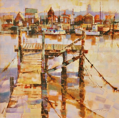 British Artist Chris FORSEY - Ropes, Jetty and Fishermen's Huts, Southwold