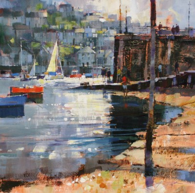 British Artist Chris FORSEY - Getting the Ferry, Fowey