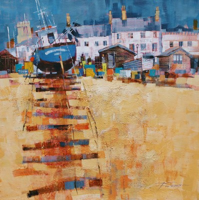 British Artist Chris FORSEY - Up the Beach, Aldeburgh