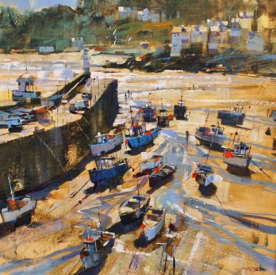 British Artist Chris FORSEY - Harbour Shadows and Sunlight, St Ives