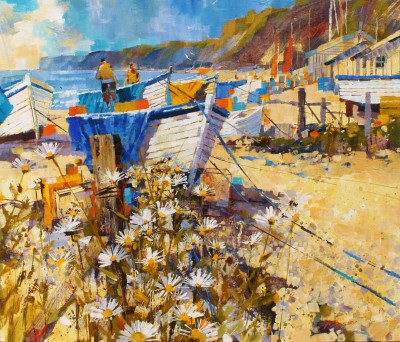 British Artist Chris FORSEY - Boats, Tarps and Daisies, Budleigh Salterson