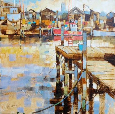 British Artist Chris FORSEY - Jetties, Boats and Fishing Sheds