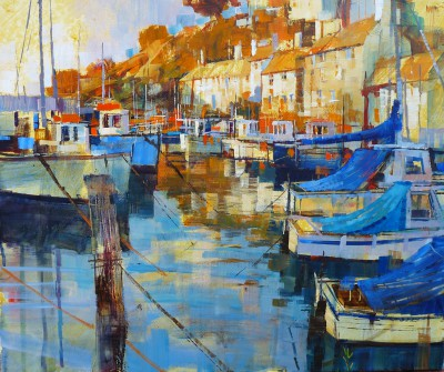British Artist Chris FORSEY - Harbour Blues and Golds