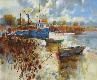 British Artist Chris FORSEY - Reeds, Boats and Clearing Skies
