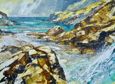 British Artist Chris FORSEY - Cascades, Tintagel Beach