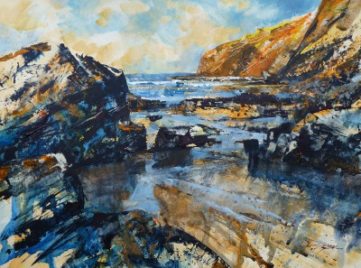 British Artist Chris FORSEY - Amber Light Blue Shadows, Tregardock
