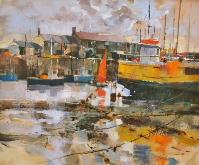 British Artist Chris FORSEY - Red Sail Yellow Hull, Lyme Regis
