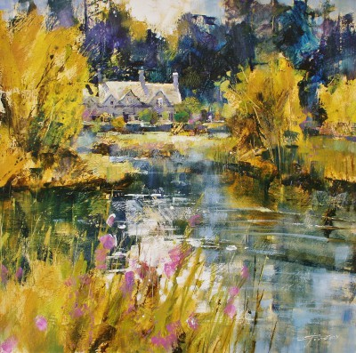 British Artist Chris FORSEY - Bibury Cottages, Spring Sunshine