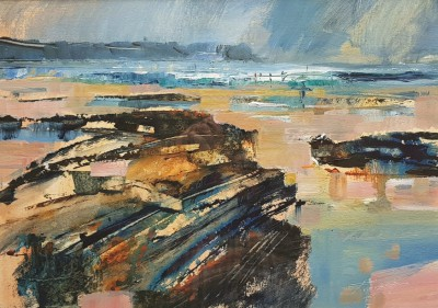 Rocks and Distant Surf painting by artist Chris FORSEY