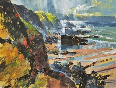 Light Shaft, Tregardock painting by artist Chris FORSEY