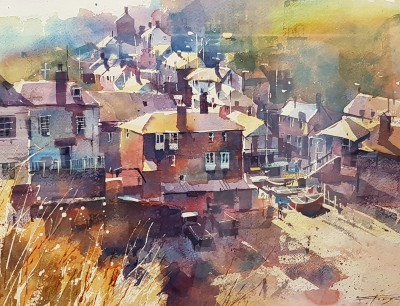 British Artist Chris FORSEY - Hazy Morning, Port Isaac