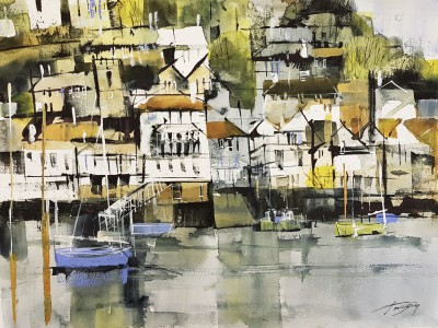 Kingswear from Dartmouth painting by artist Chris FORSEY