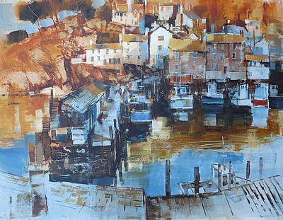 Harbour Vista Polperro  painting by artist Chris FORSEY