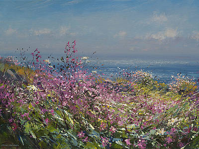 British Artist Mark Preston - Clifftop Flowers, Cornwall